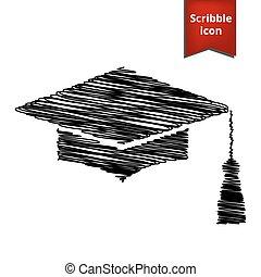 Mortar Board or Graduation Cap, Education symbol with pen...