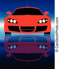 Fast Car Front End - Reflections of a very fast red sports...