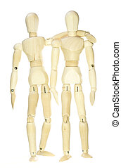 Wooden dummies - hug (isolated on white background)