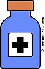 Medicina, botella, en, white.,