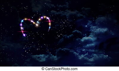 heart color star at night - starry night in space background...