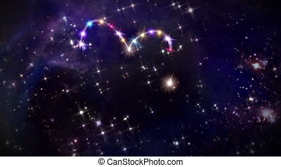 hearts color star space camera rotation - starry night in...