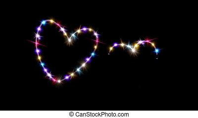 hearts color star - dark background with heart forming from...