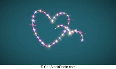 hearts pink star with green background
