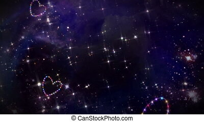 hearts color star space - starry night in space background...