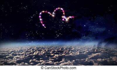 hearts pink star in outer space - starry night in space...