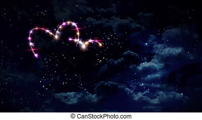 hearts pink star night - starry night in space background...