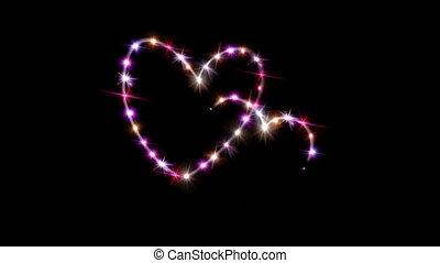 hearts pink star with dark background