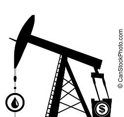 oil pump jack silhouette - oil pump jack icon in black...
