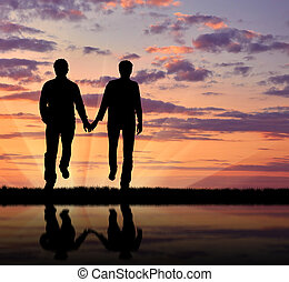 Silhouette happy gay men - Concept of gay people. Silhouette...