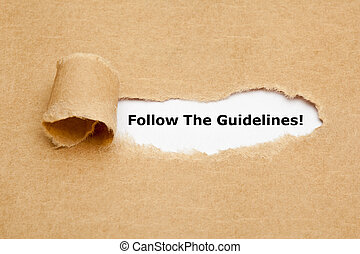 Follow The Guidelines Torn Paper - The text Follow The...