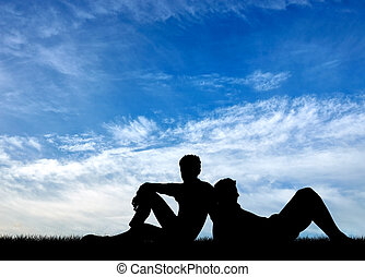 Silhouette of two gay men - Concept of gay people Silhouette...