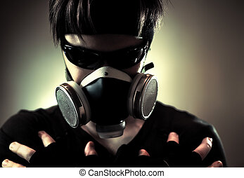 Cool man in protective mask. Dark contrast colors.