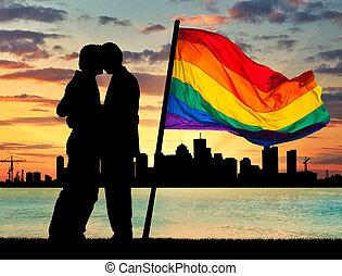 Silhouette happy gay men kissing - Concept of gay people....