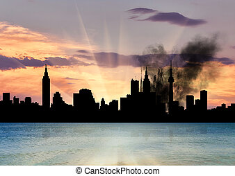 Silhouette of the city in a smoke