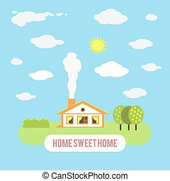 Village cozy cottage with trees isolated on blue sky...