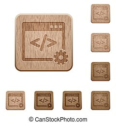 Web development wooden buttons - Set of carved wooden Web...