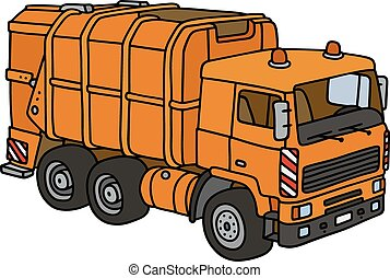 Orange dustcart - Hand drawing of an orange dustcart