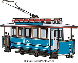 Vintage blue tramway - Hand drawing of a classic blue...