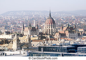 House of Parliament in Budapest Airview - House of...