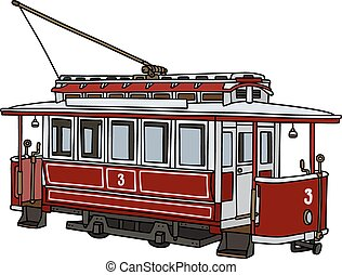 Vintage red tramway - Hand drawing of a vintage dark red...