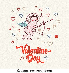 illustration of Cupid on the retro love background for happy...