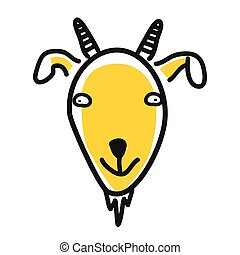 Cartoon animal head icon. Goat face avatar for profile of social networks. Hand drawn design