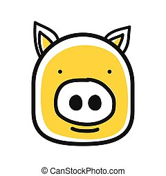 Cartoon animal head icon. Pig face avatar for profile of...