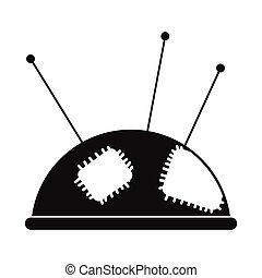 Pincushion with pins icon - Pincushion with pins black...