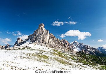Nuvolau peak after a summer snowfall; passo Giau, Dolomites,...