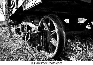 Vagon abandonado en una via muerta, Ferrocarril Gral. Roca,...