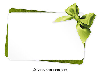 gift card with green ribbon bow Isolated on white background