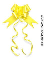 ribbon bow in shiny golden color on white background