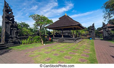 Famouse old temple on island Bali in Indonesia Summer sunny...
