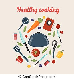 Kitchen Healthy Cooking Concept with Different Vegetables and Cutlery