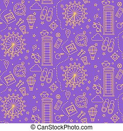 London Seamless Pattern with London Eye, Phone Box and...