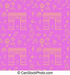 Paris Seamless Pattern with Arc de Triomphe and Travel...