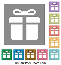Gift square flat icons - Gift flat icon set on color square...