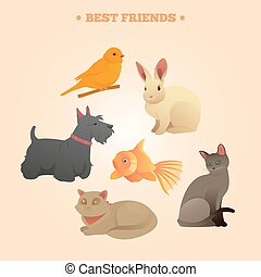 Home Pets Set: Carrot, Dog, Rabbit, Fish and Cats
