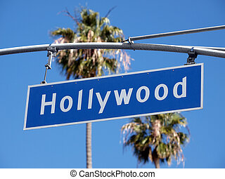 Hollywood Blvd Sign - Hollywood Blvd street sign with tall...
