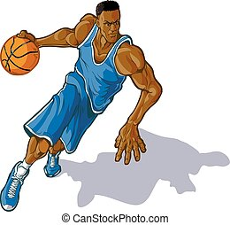 Male Basketball Player Dribbling - Cartoon vector clip art...