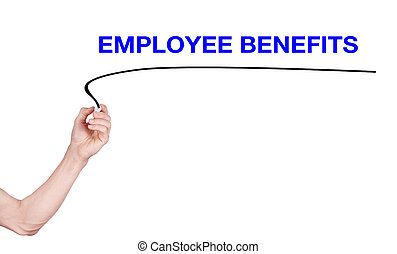 Employee Benefits word writting by men hand holding...