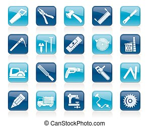 Carpentry, logging and woodworking icons - vector icon set