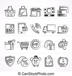 on line shop and E-commerce icons