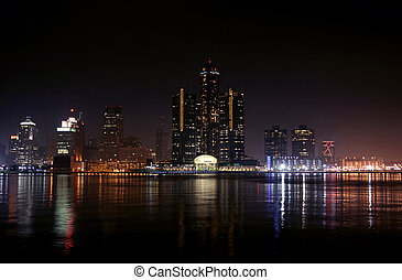 Detroit, Michigan - view of Detroit skyline at night,...