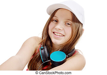 portrait of fashion little girl with blue headphone, on white