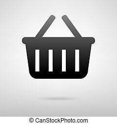Shoping basket icon vector illustration with shadow
