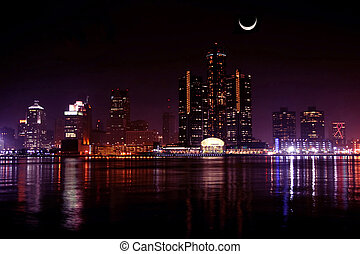 Detroit, night and moon - view of Detroit skyline at night...
