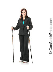 Nordic walking girl, isolated on white background