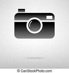 Digital camera black icon. Vector illustration with shadow